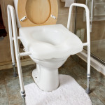 An adjustable height toilet seat fitted over your exisitng toilet reduces the risk of falls